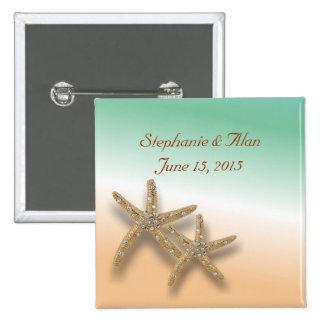 Jewelled Starfish Wedding Button