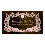 Jewellery Business Card Pink Brown Floral Frame