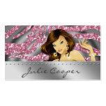 Jewellery Business Card Pink Woman Zebra Silver