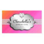 Jewellery Business Card Silver Pink Orange Heart