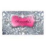 Jewellery Business Card Zebra Pink Silver Glitter