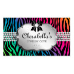 Jewellery Business Card Zebra Rainbow Bow Heart