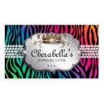 Jewellery Business Card Zebra Rainbow Crown Heart