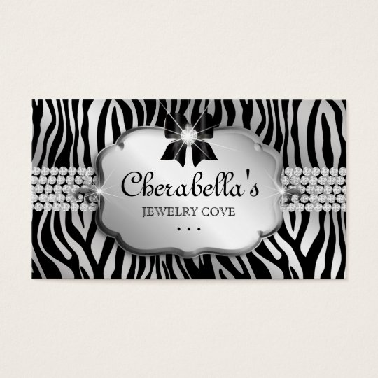 Jewellery Business Card Zebra Silver Bow Heart