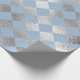 Jewellery Diamond Squares Blue Silver Vip Wrapping Paper