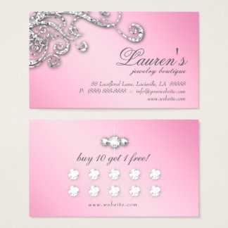 Jewellery Swirl Loyalty Card Glitter Diamonds Pink