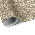 Jewellery Waves Art Deco Sepia Gold Circles Wrapping Paper