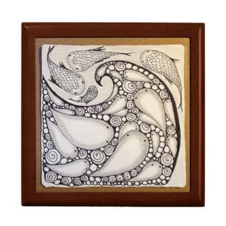 "Jewelry Box ""Fish Wave"" Original Art"