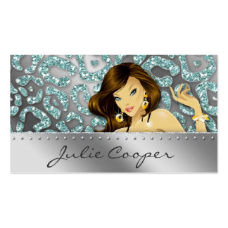 Jewelry Business Card Teal Woman Leopard Silver