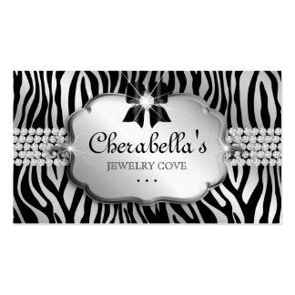 Jewelry Business Card Zebra Silver Bow Heart