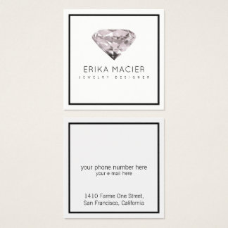 jewelry design chic & elegant white & clear square business card