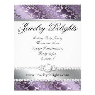 Jewelry Flyer Hair Salon Floral Damask Purple