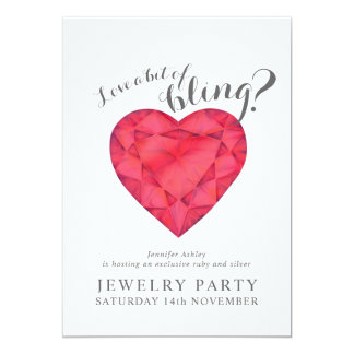 Jewelry party invites ruby love bling