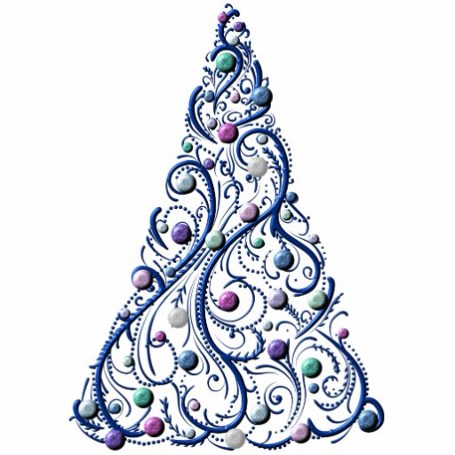 Jewelry - Pin - Cobalt Swirls Tree Acrylic Cut Outs