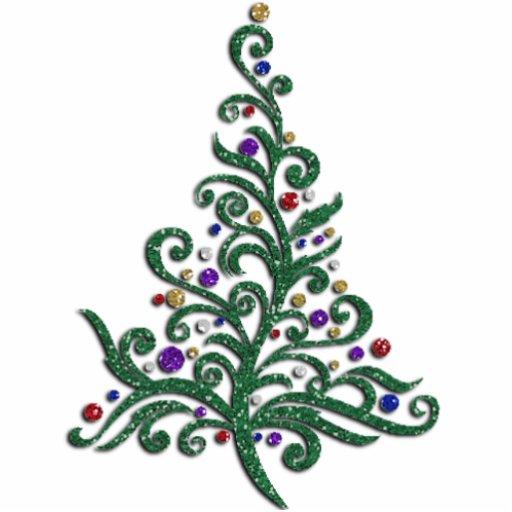 Jewelry - Pin - Green Flourishing Holiday Tree Cut Outs