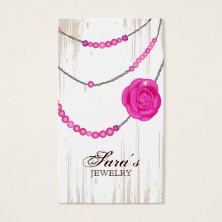 Jewelry Rose Necklace Brown Pink Business Card