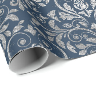 Jewelry Royal Ornament Damask Blue Navy Silver Wrapping Paper