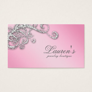 Jewelry Swirl Business Card Glitter Diamonds Pink