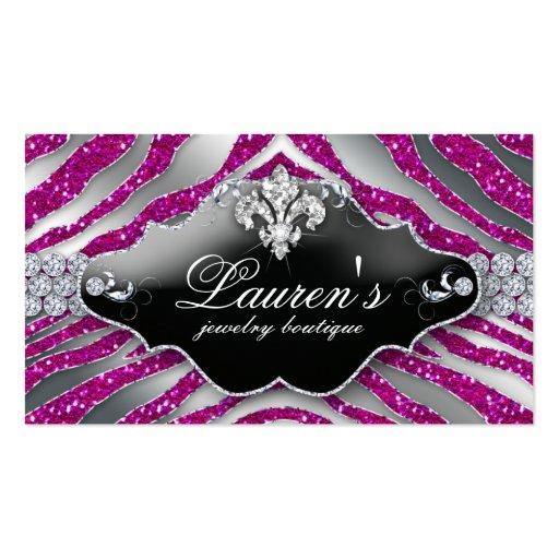 Jewelry Zebra Fleur de lis Sparkle Hot Pink Business Card Templates