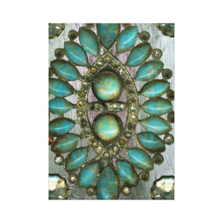 Jewels on Rustic Wood Canvas Print