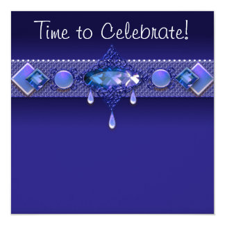 "Jewels Royal Navy Blue Womans Birthday Party 5.25"" Square Invitation Card"
