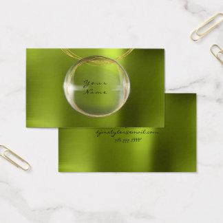 Jewely Stylist Gold Glass Ball Lemon Green Metal Business Card