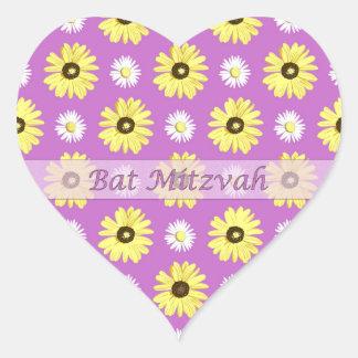Jewish Bat Mitzvah Daisies Radiant Orchid Sticker