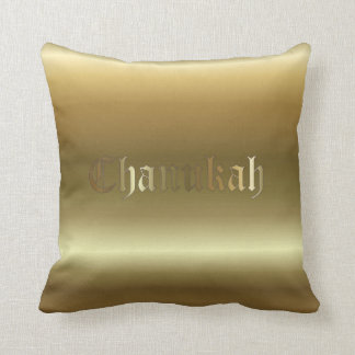 Jewish Chanukah Golden Square Throw Pillow