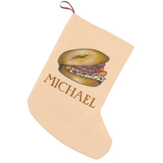 Jewish Deli Bagel Lox Capers Cream Cheese Foodie Small Christmas Stocking