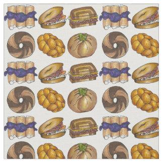 Jewish Deli Food Bagel Knish Challah Blintz Fabric