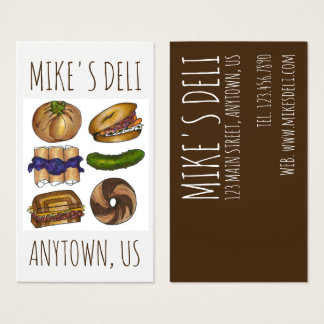 Jewish Deli Food Bagel Knish Pickle Reuben Blintz Business Card