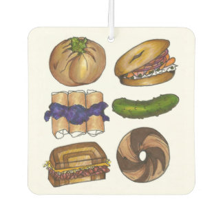 Jewish Deli Food Bagel Knish Pickle Reuben Blintz Car Air Freshener