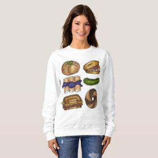 Jewish Deli Foods Bagel Blintz Pickle Sweatshirt