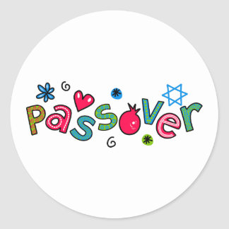 Jewish Festival of Passover Text Greeting Classic Round Sticker