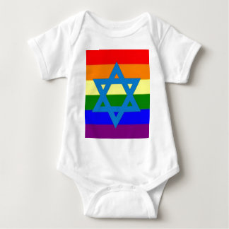 Jewish Gay Pride Flag Baby Bodysuit