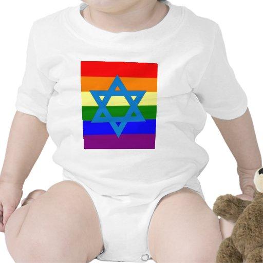Jewish Gay Pride Flag Baby Bodysuit
