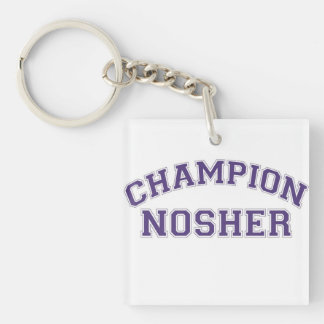 Jewish Gift-Key Chain-Nosher Double-Sided Square Acrylic Keychain