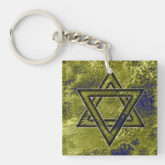 Jewish Gift, Star of David Double-Sided Square Acrylic Keychain