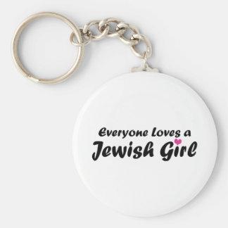 Jewish Girl Basic Round Button Keychain