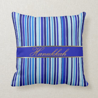Jewish Hanukkah Golden Blue Stripes Throw Pillow