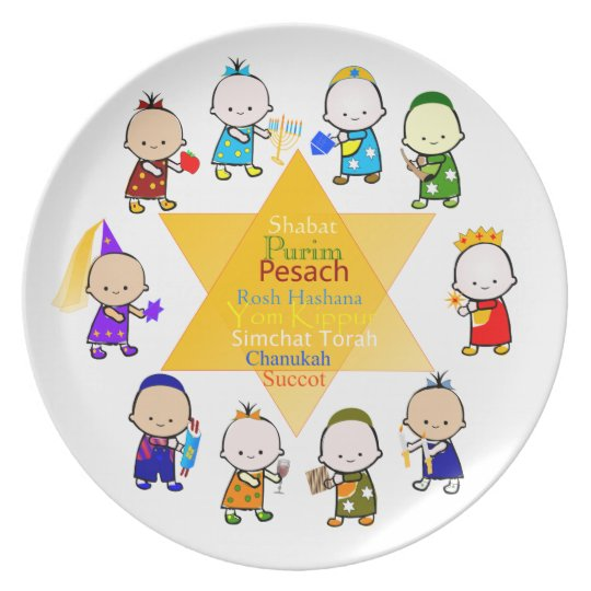Jewish Holiday Kids Celebration Plate