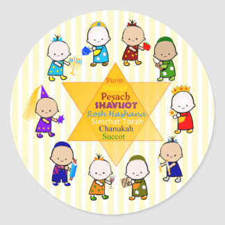 Jewish Holiday Star Kids Round Sticker