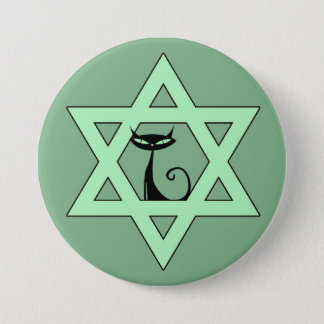 Jewish Kitty Cat Star of David 3 Inch Round Button