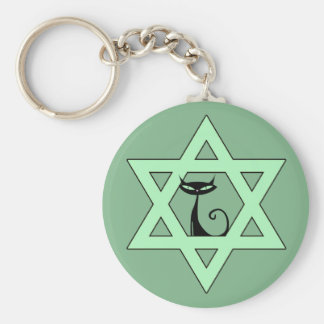 Jewish Kitty Cat Star of David Keychain