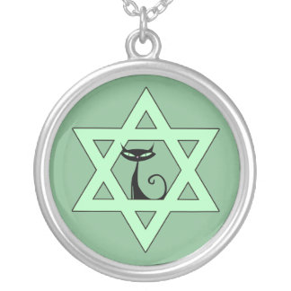 Jewish Kitty Cat Star of David Silver Plated Necklace
