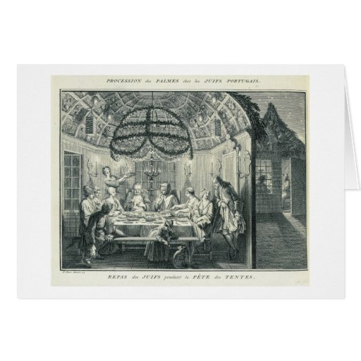 Jewish Meal During the Feast of the Tabernacles, i Greeting Cards