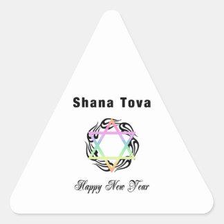 Jewish New Year Shana Tova Triangle Sticker