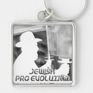 Jewish Pro Evolution Silver-Colored Square Keychain