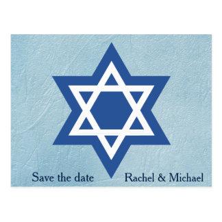 Jewish Save the date Star of David Postcard