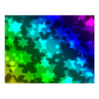 Jewish Star Celebration Background Bokeh Postcard